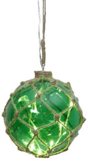 Marin Glasboll Fiskekula med ljusslinga. 12 cm. Grön
