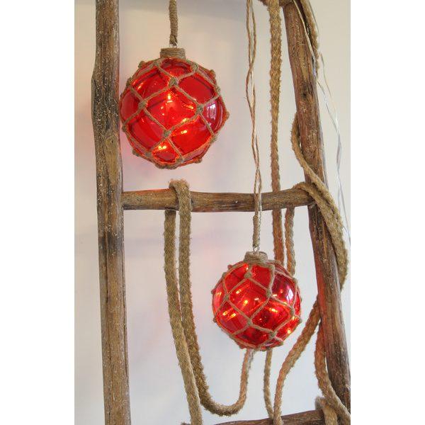 Marin Glasboll Fiskekula med ljusslinga. 14 cm. Röd