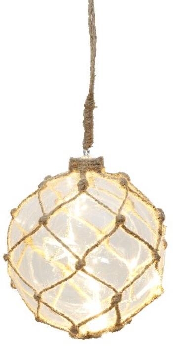 Marin Glasboll Fiskekula med ljusslinga. 12 cm. Klar