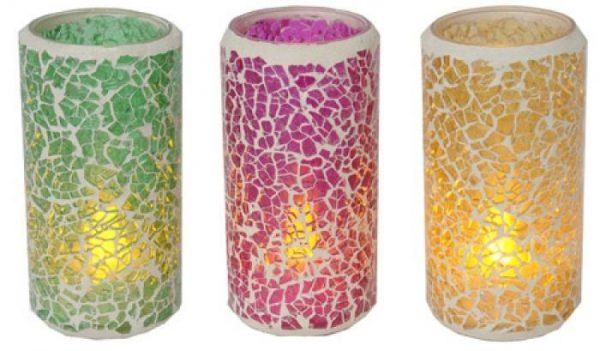 Mosaiklyktor med värmeljus i LED. 3-Pack