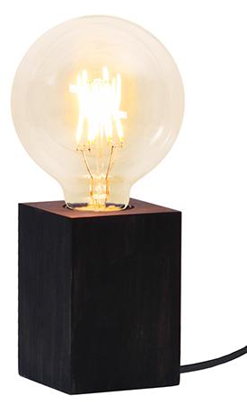 Bordslampa Lampfot Lys Svart i Trä