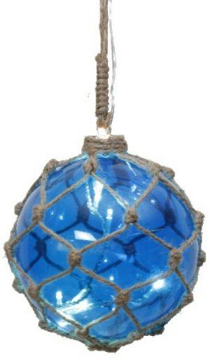Marin Glasboll Fiskekula med ljusslinga. 12 cm. Blå