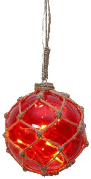 Marin Glasboll Fiskekula med ljusslinga. 12 cm. Röd