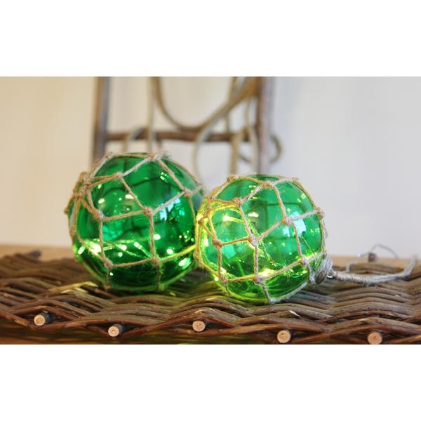 Marin Glasboll Fiskekula med ljusslinga. 14 cm. Grön