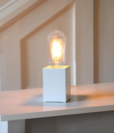 Bordslampa Lampfot Lys Vit i Trä