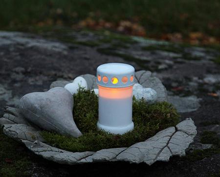 Gravljus Vit LED med flimrande låga. 2-Pack.