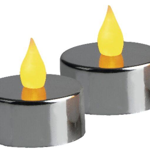 Värmeljus Metallic Silver LED 2p