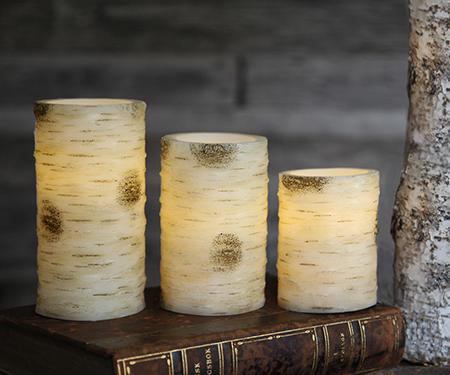 Vaxljus med björkbarkmönster 10 cm. LED