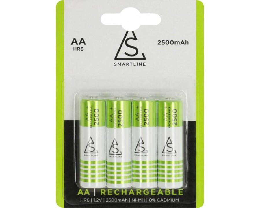 4-Pack Uppladdningsbara batterier AA HR6 1.2V 2500 mAh