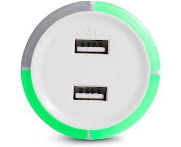 Rund Säkerhetstimer med USB 3,4A Vit